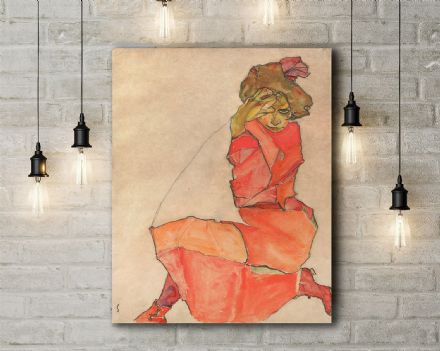 Egon Schiele: Kneeling Female in Orange-Red Dress. Fine Art Canvas.